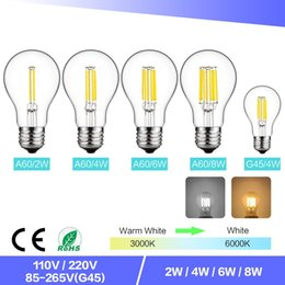 Globe Glasses Australia - Dimming E27 Edison Filament LED Bulb 2W 4W 6W 8W A60 Bulb Glass Enclosure Bulb White Warm White 360 Angle AC110V AC220V