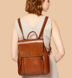 brown patent wallet UK - Woman fashion backpack student calf real leather school bag outdoor casual slanting shopping wallet