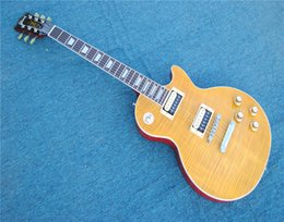 Maple veneer for guitar body online shopping - Yellow NO Frets Electric Guitar with Flame Maple Veneer Rosewood Fingerboard Offer Customized