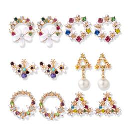 $enCountryForm.capitalKeyWord Australia - 2019 Korean Cute Flower Earrings For Women Geometric Rhinestone Drip Pearl Stud Earrings Girls Jewelry Christmas Gift Party