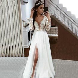 Long white summer shirt dresses online shopping - Elegant Boho White Wedding Dresses Long Sleeve Lace Appliques Side Slit Bridal Gowns Floor Length Beach Wedding Gowns