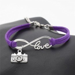 Invisible Cameras Australia - 2019 Fashion Camera Pendant Charm Infinity Love Couple Bracelet & Bangles Purple Leather Rope Wrap Jewelry Friendship Gifts Lover Women Men
