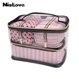 Chinese  Pvc Transparent Cosmetic Organizer Travel Toiletry Bag Set Pink Beauty Makeup Case Beautician Vanity Necessaire Trip C19042101 manufacturers