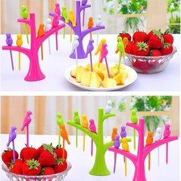 $enCountryForm.capitalKeyWord Australia - Dinnerware Sets Food Picks Tree Birds Design Plastic Fruit Fork 2019 New Hot Sale Dessert Fork Vegetable Food Fruit Fork Set