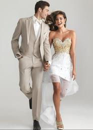 $enCountryForm.capitalKeyWord Australia - New Arrival Two Button Slim Fit Groom Tuxedos Beige Best man Notch Lapel Groomsman Men Wedding Suits Bridegroom(Jacket+Pants+Tie+Vest)J485