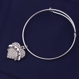 $enCountryForm.capitalKeyWord Australia - HLB14 Fashion Design Peach Heart Crystal Engraved Letter Pendant NANA MIMI GYMNASTICS BEST FRIEND YAYA Letter Bangle