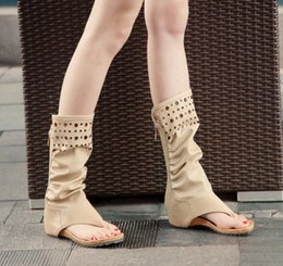$enCountryForm.capitalKeyWord Australia - New Summer Fashion High Help Hollow Out Pleat Wrinkled Women Flats Casual Thong Sandals Back Zip Open Toe Calf Boots