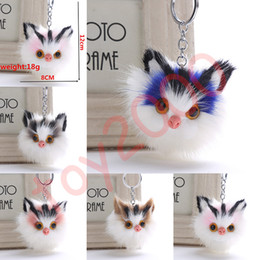 Chinese  Fluffy Faux Rabbit Fur Keychain Key Ring 5 Styles Pom Pom stuffed animals cat Keychains Car Bag Pendant Key Chain Charms plush toys manufacturers