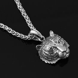 Wholesale Tiger Pendant Australia - Tiger Pendant Necklace Man Cool King of Animal Men Jewelry Vintage Long Chain Necklace Hip Hop Jewelry