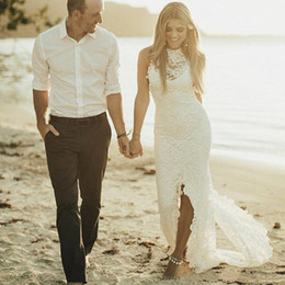 Front Slit Wedding Gowns Australia - Sexy Full Lace Sheath Beach Wedding Dresses Slit Front New 2019 Sheer High Neck Sleeveless Back Zipper Cheap Country Bridal Gown Custom Made