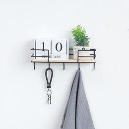 Modern wall Metal art online shopping - Nordic Modern Wall Hanging Shelf Wood Metal Iron Shelf Holder Storage Rack Wall Hanging Display Rack With Key Hook Home Art Decorative