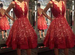 Short Red Lace Prom Dresses Straps Australia - 2019 Red Knee Length Short Cheap Evening Party Dresses Deep V neck Sequins Lace Open Back Graduation Cocktail Prom Dress Cheap Discount
