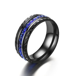 Blue wedding rings women online shopping - Blue Diamond Ring Black tire Rings designer jewelry women rings Wedding engagement rings Fashion Jewelry Gift