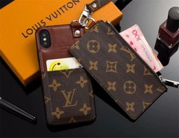 Luxury Credit Card Iphone Australia - Top Luxury Branded Designer Leather Phone Case for iPhone X XS Max XR Wallet Case for Apple iphone 7 8 Plus Lanyard Credit Card Cases