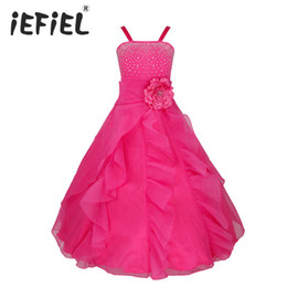 size 2t tutu UK - Iefiel Kids Girls Embroidered Flower Bow Formal Party Ball Gown Prom Princess Bridesmaid Wedding Children Tutu Dress Size 2-14y Y19061701