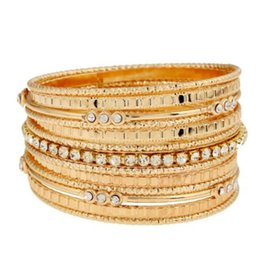 Gold chain link wrap bracelet online shopping - WKOUD Fashion New Gold Multilayer Leather Bracelet Bangles Woman Female Vintage Wrap Charm Bracelets New Jewelry Dropship