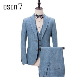 terno dress 2019 - OSCN7 Sky Blue 3 Pcs Suit for Men Peak Lapel Event Party Men Dress Suits for Wedding Gentleman Slim Fit Terno Masculino