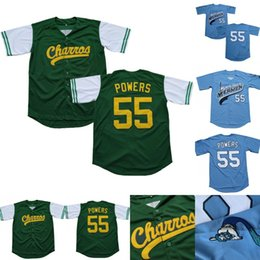 ingrosso punti di film-Poteri Kenny Mens Eastbound and Down Charros Charros Kenny Powers Stitched Movie Basewball Jersey Verde Blu Spedizione veloce
