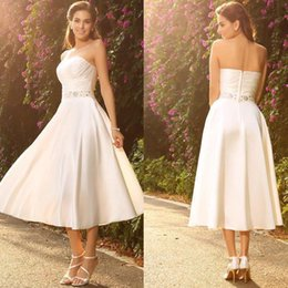 $enCountryForm.capitalKeyWord Australia - Elegant Sweetheart Mini Short Wedding Dress A Line Weddin Gowns Satin Beach Country Bridal Dress with Sash de noiva Custom