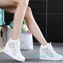 hollow mesh shoes NZ - 2016 Women Mesh Hollow Elevator Shoes Thick Soled Lace Shoes Woman Platform Wedges Loafers Creepers High Heels Zapatos Mujer r03