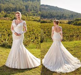 Chinese  Elegant Light Champagne Elegant Plus Size Wedding Dresses 2019 V Neck Sheer Long Sleeves Lace Mermaid Wedding Bridal Gowns Illusion Back manufacturers