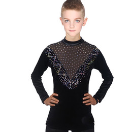 ballroom clothes rhinestones UK - Latest Latin Dance Tops Boys Black Perspective Rhinestone Shirt Practice Rumba Ballroom Competition Boys Dance Clothes VDB726