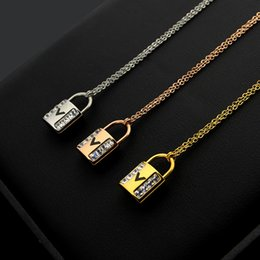 $enCountryForm.capitalKeyWord Australia - 2019 New Arrive Fashion Lady Titanium steel 18K Plated Gold Necklace With Double Rows Diamond V Letter Lock Pendant 3 Color