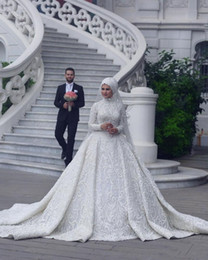 $enCountryForm.capitalKeyWord Australia - High Neck Long Sleeve Arabic Hijab Muslim Wedding Dresses 2019 Romantic Appliques Lace White Bridal Gowns Court Train abiti da sposa Custom