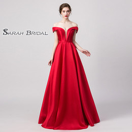 Chinese  Desginer Red A Line V Neck Prom Dresses Off The Shoulder Pleated vintage In Stock High End Quality Party Dress Short Sleeves 5174 manufacturers