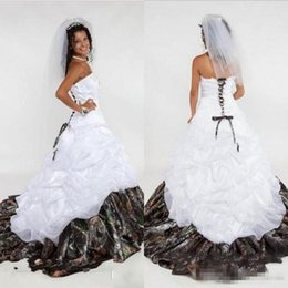 white strapless corset wedding dress Australia - Camo Ball Gown Wedding Dresses Strapless Appliques Satin Corset Lace Up Back Camouflage Wedding Bridal Gowns Forest Sweep Train
