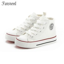 Baby Girl Summer Canvas Shoes Australia - High-top children's canvas shoes spring boy and girls shoes summer Korean version of white baby cloth shoes sports