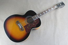Опт Бесплатная доставка Лучшая цена Оптовая Высокое качество сплошной ели лучших 12 струн J200 Sunburst цвет акустическая гитара