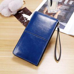Wholesale Ladies Handbags Ostrich Australia - Nice NEW Women Zipper Wallets Bifid Large Capacity Clutch Long Coin Card Purse High Quality Leather Wallets Card Holder Handbag