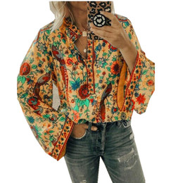 Elegante Frauen Boho Laterne Langarm-Shirt lose V-Ausschnitt Blumen Tops Damen Hippie Tunika Bluse Shirt Autumn Casual Tops