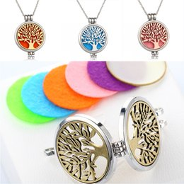 New free Necklace online shopping - Free DHL New Style Essential Oil Diffuser Tree Of Life Aromatherapy Floating Luminous Locket Pendant Necklaces Perfume Necklace B174S Y