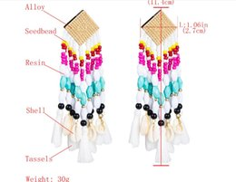 $enCountryForm.capitalKeyWord Australia - Hot sale explosions Europe and America exaggerated personality alloy rice beads resin shell long tassels Bohemian national wind