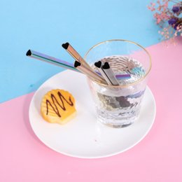 heart shape straw NZ - Heart Shaped Reusable Stainless Steel Metal Drinking Straws With Cleaning Brush For Hot & Cold Drinks