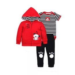 Wholesale 2019 Autumn Winter Baby Boys Jumpsuits Cute Animal Cat Rockets Rabbit Owl Car Printing Chidren Girls Tops Suits Long Sleeved Hoodies Infant