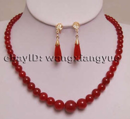 $enCountryForm.capitalKeyWord Australia - Women's Wedding 6-14mm Red gem Jewelry Round Beads Necklace Earrings Set Bridal wide real silver-jewelry
