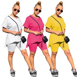 women fashion sport set Canada - Women Tracksuit Fashion Solid Color Designer V-neck Short Sleeves T Shirt Shorts Two Piece Set Outfits Casual Sports Suit CZ630