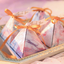 gifts for guests baby shower Australia - Triangular Pyramid Unicorn Marble Candy Box Wedding Favors and Gifts Boxes with Ribbons Chocolate Box for Guests Baby Shower Birthday Party