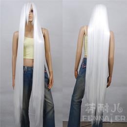 Long Hair Oblique Bangs Australia - Cosplay fake hair pure white long straight hair 150cm oblique bangs one meter five wig ~