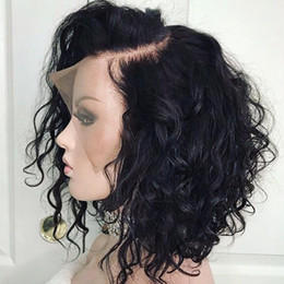 16inch Human Hair Wig Australia - 16inch Curly Lace Front Human Hair Wigs For Black Women Pre Plucked With Full Frontal Baby Hair Remy Brazilian Hair Wavy Short Bob Wig