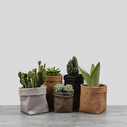 Plant Pouch online shopping - Kraft Paper Flowerpot Foldable Pots Creative Waterproof Environmental Protection Planters Storage Bag Mini Garden Vegetable Pouch TTA2027