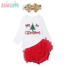 $enCountryForm.capitalKeyWord Australia - wholesale Infantil Baby Girls Clothing 1st Christmas Outfit Set Cute Bebe Newborns Romper with Bloomers Headband Autumn