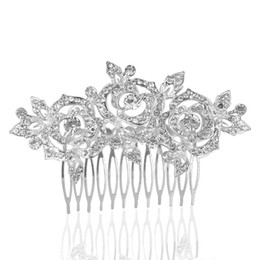 China Wedding Party 11x7cm hairpins beaded flower leaf headwear of bride crown diamond headwear for bride acting initiation graduation RS-186 suppliers
