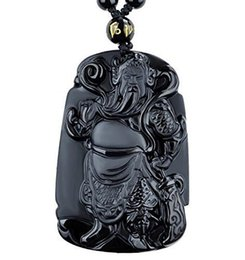 $enCountryForm.capitalKeyWord UK - Fine Jewelry Natural Obsidian Guan Yu Warrior Guangong Hold Knife Knight Pendant Necklace Free Shipping