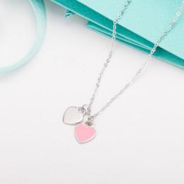 Jewelry brand logos online shopping - 2019 Real s925 Sterling silver lady heart necklace pink blue enamel love condole chain jewelry customization Brand T with logo