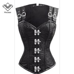 Steampunk Corset Vest Australia - Wechery Steampunk Corset Gothic Clothing Corsets and Bustiers Gothic Black Strap Corset Slimming Vest 12 Steel Boned Bustier Top