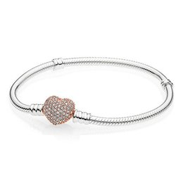pan charms 2019 - 925 Sterling Silver Rose Gold Moments Pave Heart Clasp With Crystal Pan Bangle & Bracelet Fit Women Charm Diy Jewelry di